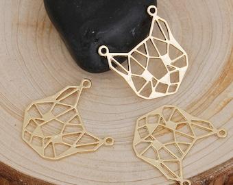 "3 pendants ""Origami /"" Golden Cat 2.6 cm"