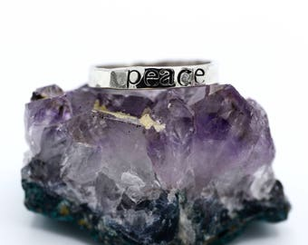 Sterling Silver Stamped Hammered Ring