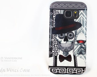 1920's Gentlemen Sugar Skull Galaxy S6 Case - Mr JD Vanderbone - TOUGH dual layer S 6 Case with art deco Skull Day of The Dead Art