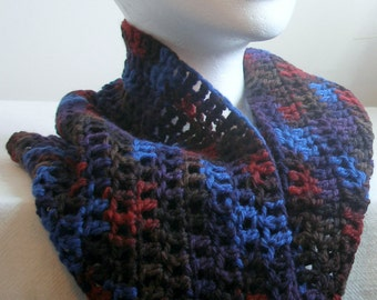 Blue Cowl Blue, Red and Brown Cowl Blue Crocheted Cowl Blue Woolen Cowl