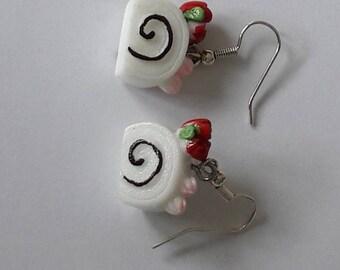 Cute and funny kawaii food  cake earrings