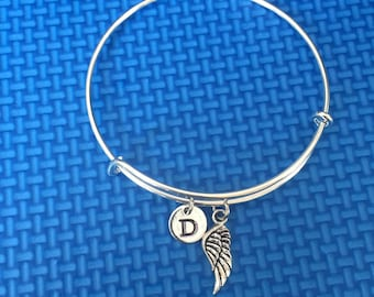 KIDS SIZE Angel wing initial Bracelet, angel wing Bracelet Bangle, gift for someone special, CP28