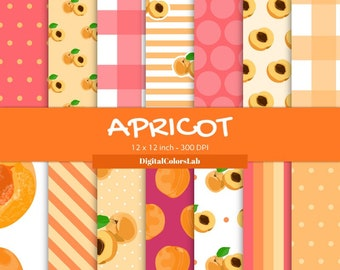 Seamless Apricot food, pettern decor, digital paper, food backdrops, food photography
