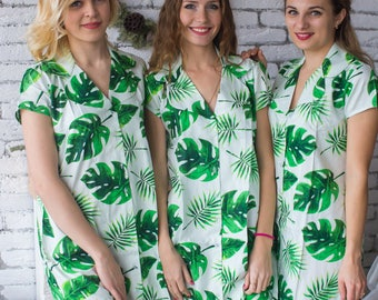 Bridesmaids Shirts in Fun Tropics Pattern - Short Sleeved Notched Collar Style