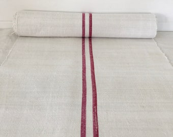 Maroon Striped Linen for Tables Upholstery Projects Vintage Fabric Handmade Linen - By The Metre