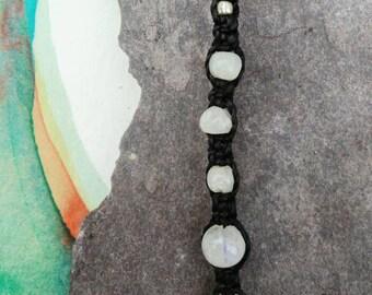 Moonstone crystal beaded macrame bracelet