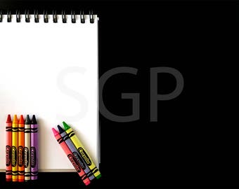 Sketchbook and Crayons Chalkboard Frame Stock Photography, Stock Photos Digital Download, Digital Paper, Scrapbook Journal Paper, Wall Art