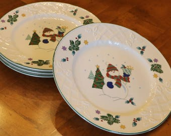 """Mikasa """"Winter Scene"""" English Countryside Holiday Snowman Pattern DP008 - Set of Four Dinner Plates in Mikasa's """"English Countryside"""""""