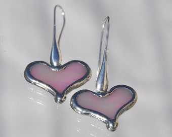 Iridescent Pink Glass Heart Earrings Sterling Tear Drop Wires
