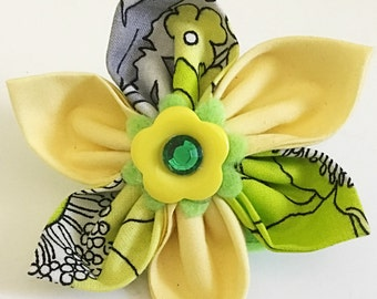 Green & Yellow Collar Flower Accessory for Girl Dog or Cat