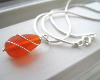 Orange Bridesmaid Jewelry - Orange Sea Glass Necklace - Bridesmaid Necklace - Fall Wedding Jewelry  - Pendant Necklace - Wire Wrapped