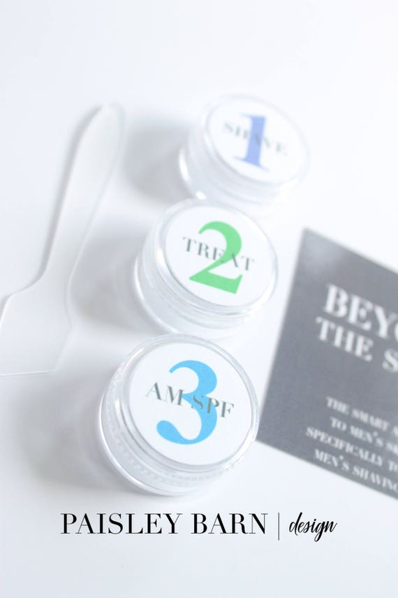 Men's 3 Step Regimen Travel Kit | skincare, travel kit, toner, containers, stickers, carry on, men's regimen, shave