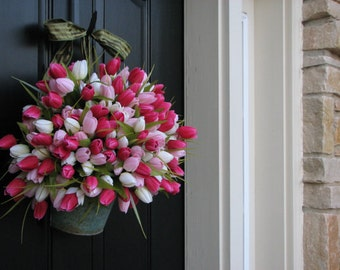 Tulips, Bucket of Tulips, Spring Arrangement, Easter Tulips, Easter Wreaths, Pink Decor, Shabby Chic Decor, Country Decor