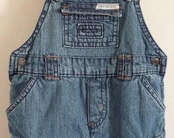 Vintage Toddler 90's Calvin Klein, Denim, Overalls, Shorts (6 mos)