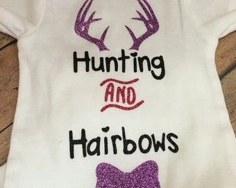 Hunting and Hairbows Bodysuit for Baby - hunting Baby - hunting girl All In One - deer hunting Baby Clothes - deer girl Baby Clothes