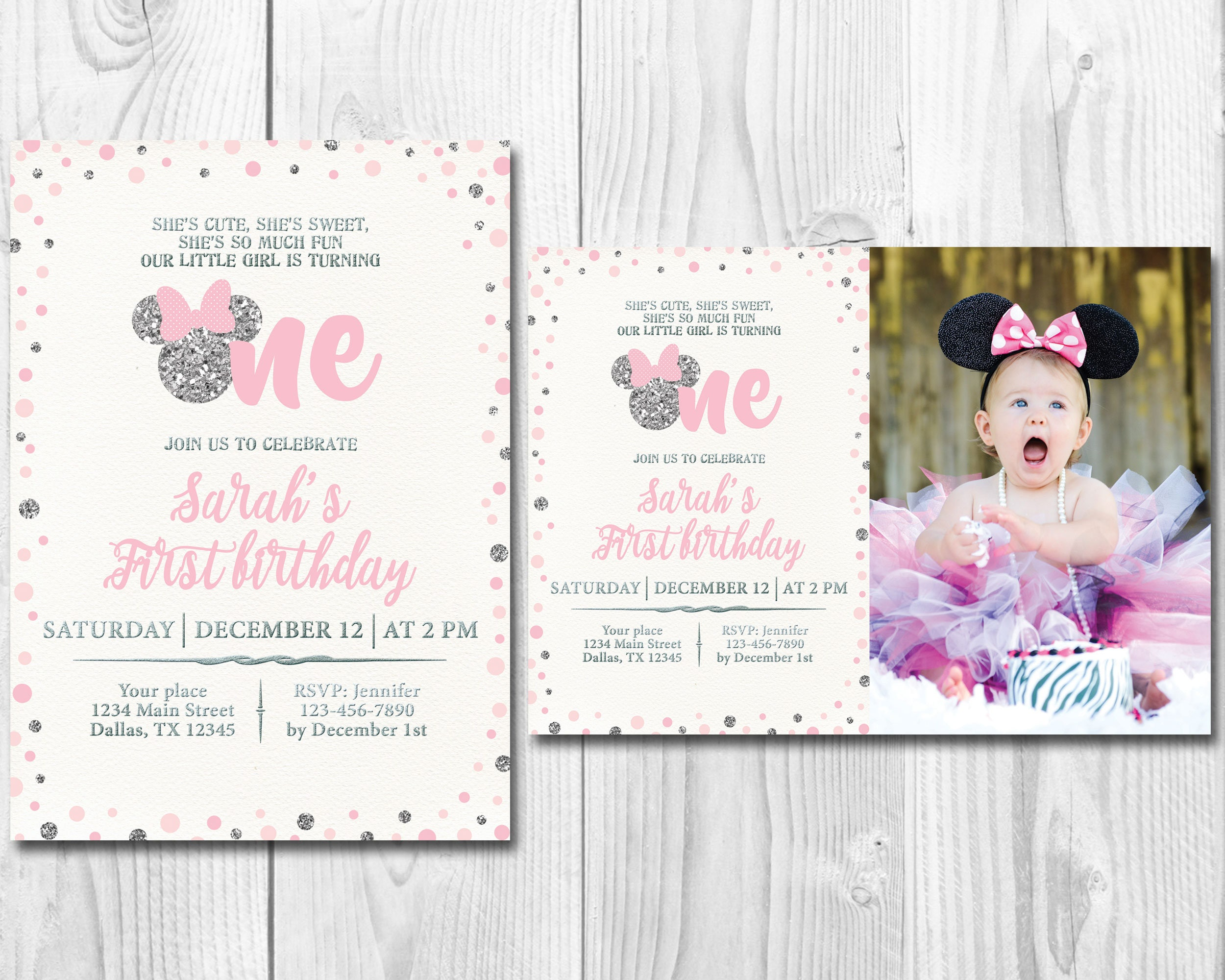 Pink and Silver Minnie Mouse First Birthday Party