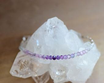 Fluorite Bracelet. Sterling Silver Beaded Jewelry. Purple Ombre Gemstone Bracelet. Faceted Fluorite. Stacking Bracelet. Gift for Daughter