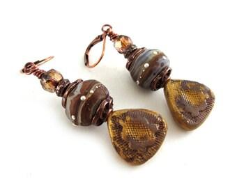 Rustic Lampwork Glass Earrings - Earthy Boho Earrings - Organic Bohemian Earrings - Artisan Jewelry - Polymer Clay & Lampwork Glass - SRAJD