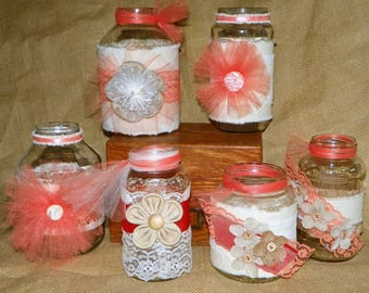 Burlap, Linen and Lace Jars, Set of 6 Different Jars, Add Fresh Cut Flowers for Centerpieces, Showers, Birthday, Wedding