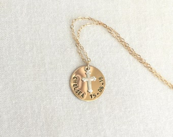 14K Gold Filled Baptism Necklace, Silver Cross, First Communion Gift, Confirmation Necklace, Gold Filled Chain, Baby Necklace, Gold Disc
