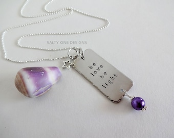 Be Love Be Light Necklace, Be Love Be Light, Hand Stamped, Inspirational Jewelry, Mermaid Jewelry, Long Silver Layering Necklace