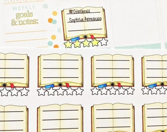 12 Open Book with Rating Stickers! Perfect for your Erin Condren Life Planner, Filofax, Plum Paper & other planner or scrapbooking!