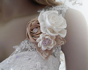 Rustic Sola Flower Wedding Corsage, embellished with clear glass rhinestones, burlap and lace.
