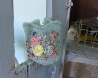 Price Reduced   . Pretty handmade shabby rose Silk Ribbon embroidered neo Blythe bustier corset floral ooak doll , every one is unique