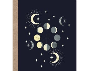 Celestial Moon Card | Moon Phases | Night Sky | Stars