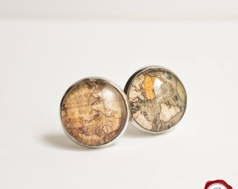 Glass cuff links with map pattern / travel around the world
