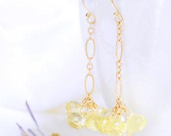 Long Lemon Quartz Cluster Dangle & Drop Earrings in 14K Gold, Yellow Gemstone Earrings, Wire Wrapped Jewelry, Handmade Earrings, Woman Gifts