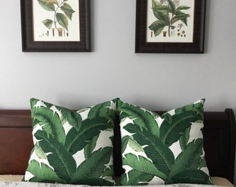 Banana Leaf Palm pillow cover - Hollywood Regency - Beverly Hills Hotel - Green Palm leaves