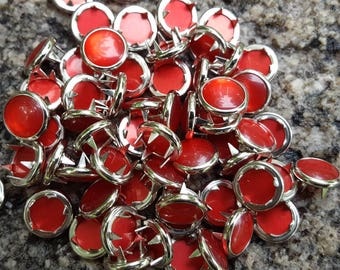 Red Pearl Snaps, Pearl Snap Fasteners, 12 mm Pearl Snaps, size 16 pearl snaps
