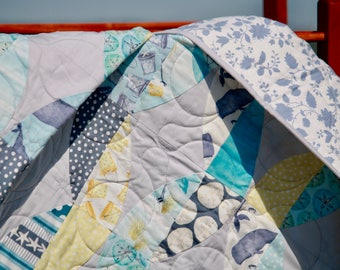 "Homemade Quilt BARNACLE BAY 46"" X 60"" quilt | throw | lap quilt | nautical | soft neutrals | whales | ocean theme"