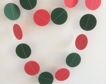Red and Green Garland, Circle Garland, Christmas Decorations, Parties, Celebrations