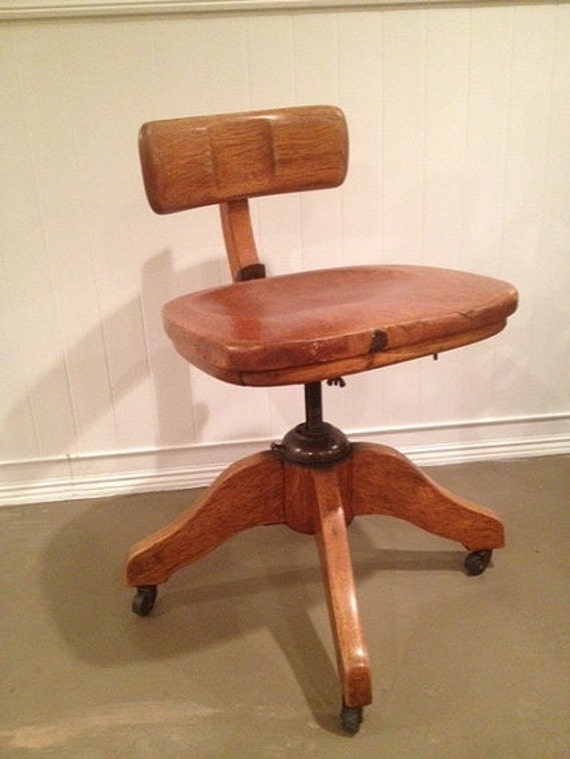 Like this item? - Antique Murphy Office Desk Banker Chair Tiger Oak Solid