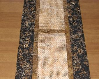 Modern Batik Quilted Table Runner Black Tan, Table Runner Quilt Tan Black, Quilted Table Runner, Quiltsy Handmade, Black Table Runner