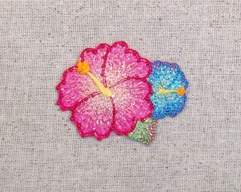 Hibiscus Flower - Tropical - Pink and Blue - Iron on Applique - Embroidered Patch -  1511670-A