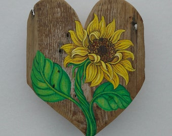 Sunflower Painting, Sunflower Meets HEART of the HOME in Barn Wood, Original Art by Susana Caban