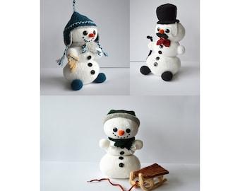 Snowmen Crochet Pattern Set, Snowman Amigurumi Pattern, Winter Snowman Crochet Patterns, Christmas Snowman, Christmas Crochet Pattern