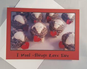 Cewepid Card 'I Wool Always Love Ewe' : A5 with envelope. Valentines, anniversary, proposal greeting card.