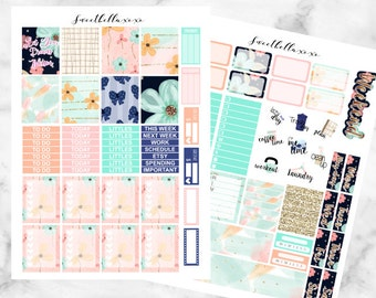SALE 50% Peachy Kit Printable Planner Stickers  / Erin Condren Planner Stickers / Floral Printable Stickers / Weekly Sticker Kit
