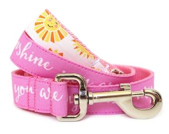 """Summer Dog Leash 1"""" Pink Sunshine Dog Leash"""