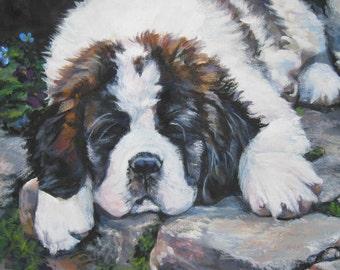 Saint Bernard dog artCANVAS print of LA Shepard painting 12x16