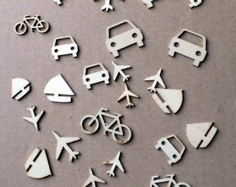 Set of bare wood Transport Embellishments various designs and sizes Sailing Boat Car Plane Bicycle