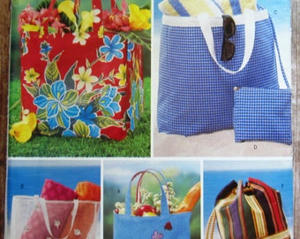 Beach Bag, Tote and Cosmetic Bag Butterick Pattern 3562/P164 UNCUT