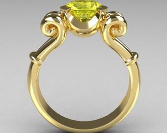 Modern Antique 10K Yellow Gold 1.0 Carat Round Yellow Topaz Designer Solitaire Ring R122-10YGYT