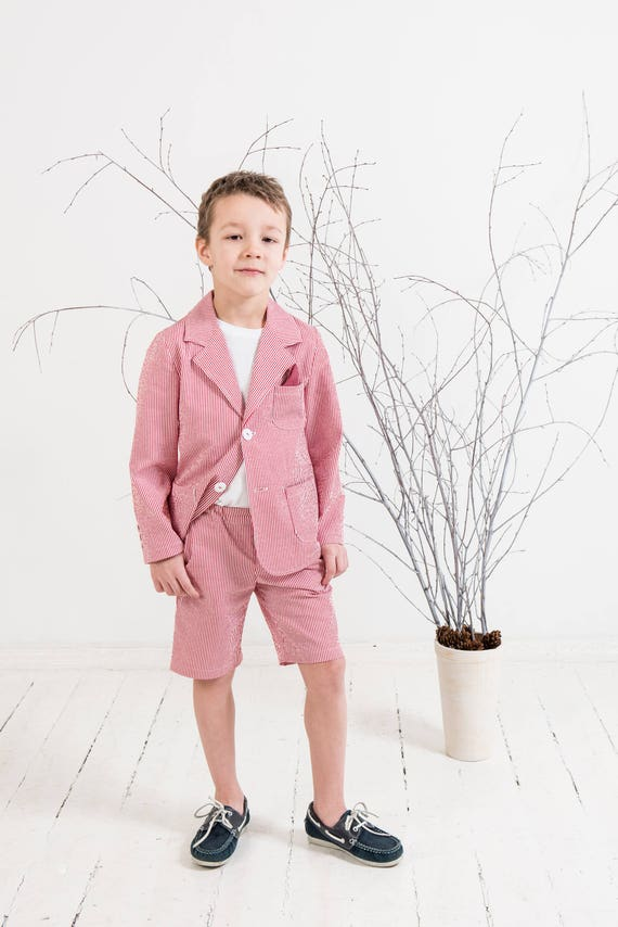 Boys seersucker suit Ring bearer outfit Boys blazer and shorts