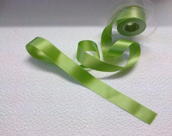 Green satin ribbon clear wide 2.5 cm stranded 703