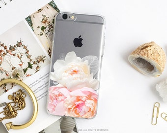 iPhone 8 Case iPhone X Case iPhone 7 Case Peonies Clear GRIP Rubber Case iPhone 7 Plus Clear Case iPhone SE Case Samsung S8 Plus Case U145